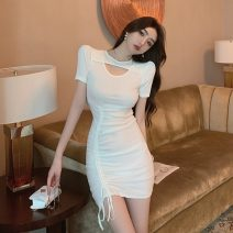 Dress Summer 2021 White, black S,M,L Short skirt singleton  Short sleeve commute Crew neck High waist Solid color Socket One pace skirt puff sleeve Others 18-24 years old Type H Other / other Korean version Hollowed out, pleated 51% (inclusive) - 70% (inclusive) knitting polyester fiber