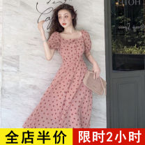 Dress Summer 2020 Pink [floral waist dress] 1 S M L XL 2XL 3XL 4XL Mid length dress singleton  Short sleeve commute square neck High waist Dot Socket A-line skirt routine 18-24 years old Type A Eileen Korean version Button 4-15X1675 More than 95% Chiffon polyester fiber Polyester 100%