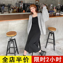 Dress Spring 2021 248 sweater JH 259 suspender skirt JH 248 sweater + 259 suspender skirt JH S M L XL 2XL 3XL 4XL longuette Two piece set Long sleeves commute other High waist Solid color Single breasted other routine camisole 18-24 years old Eileen Korean version 10-20AC248+AC259 More than 95%