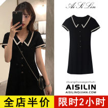 Dress Summer 2021 Black [cool women's high-grade / Vintage skirt / design minority] S M L XL 2XL 3XL 4XL Middle-skirt singleton  Short sleeve commute other High waist Solid color A-line skirt routine Others 18-24 years old Eileen Korean version 3-1X1734-5 More than 95% cotton Cotton 100%