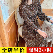 Dress Spring 2021 Coffee JH S M L XL 2XL 3XL 4XL Mid length dress singleton  Short sleeve commute square neck High waist Broken flowers Single breasted A-line skirt routine 18-24 years old Eileen Korean version Bandage 2-2CS0167-NG More than 95% polyester fiber Polyester 100%
