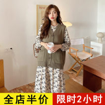 Dress Spring 2021 Brown vest [one piece] apricot dress [one piece] Vest + dress [suit] S M L XL 2XL 3XL 4XL Mid length dress Two piece set Long sleeves commute other High waist Broken flowers Pleated skirt routine 18-24 years old Eileen Korean version 9-22C8580 More than 95% polyester fiber