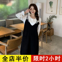 Women's large Spring 2021 White shirt [single piece] black woolen skirt [single piece] shirt + woolen skirt [suit] Dress Two piece set commute easy moderate Socket Long sleeves Solid color Korean version Crew neck routine Collage routine 9-17C8368 Eileen 18-24 years old pocket Short skirt straps