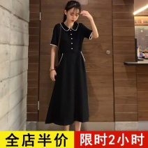 Dress Spring 2021 Black dress S M L XL 2XL 3XL 4XL 5XL Mid length dress singleton  Short sleeve commute Doll Collar High waist Solid color Socket Ruffle Skirt routine Others 18-24 years old Type A Eileen Korean version Button 6-10X1602-ww More than 95% polyester fiber Pure e-commerce (online only)