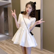 Dress Summer 2020 white Average size Short skirt singleton  Short sleeve commute square neck High waist Solid color Socket other routine Others 18-24 years old Type A Other / other 38-37 31% (inclusive) - 50% (inclusive) other