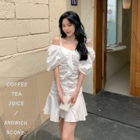 Dress Spring 2021 White, purple M, L Short skirt singleton  Short sleeve commute One word collar Solid color Socket other other Others 18-24 years old Korean version 31% (inclusive) - 50% (inclusive)