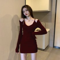 Dress Winter 2020 Red, black Average size Short skirt singleton  Long sleeves commute V-neck middle-waisted Solid color Socket other routine Others 18-24 years old Other / other Korean version 31% (inclusive) - 50% (inclusive) other