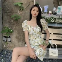 Dress Summer 2021 Blue, yellow S, M Short skirt singleton  Short sleeve commute square neck Decor Socket other other Others 18-24 years old Korean version Ruffles, ruffles, bandages 31% (inclusive) - 50% (inclusive) Chiffon