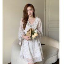 Dress Spring 2021 Floral Dress S, M Short skirt singleton  Long sleeves commute V-neck High waist Decor Socket Princess Dress routine Others 18-24 years old Korean version 31% (inclusive) - 50% (inclusive) Chiffon polyester fiber