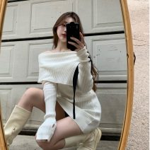 Dress Spring 2021 Black, beige Average size Short skirt singleton  Long sleeves commute other Solid color Socket other routine Others 18-24 years old Korean version Splicing 31% (inclusive) - 50% (inclusive) other