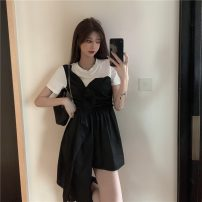 Dress Summer 2021 black M, L Short skirt Fake two pieces Short sleeve commute other other Socket other other Others 18-24 years old Korean version 31% (inclusive) - 50% (inclusive)