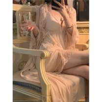 Pajamas / housewear set female Other / other Average size Skin pink suspender dress, skin pink Nightgown coat other Sleeveless sexy pajamas summer V-neck Solid color youth 2 pieces 21% (inclusive) - 40% (inclusive)
