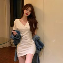 Dress Summer 2021 white Average size Short skirt singleton  Short sleeve commute V-neck High waist Solid color Socket other other Others 18-24 years old Korean version 31% (inclusive) - 50% (inclusive) other