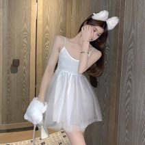 Dress Summer 2020 White, black Average size Short skirt singleton  Sleeveless commute V-neck High waist Solid color zipper Princess Dress other camisole 18-24 years old Type A Korean version fungus 31% (inclusive) - 50% (inclusive) other other