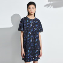 Dress Summer 2021 All over black S M L XL Mid length dress singleton  Short sleeve commute Crew neck Loose waist other Socket One pace skirt routine 30-34 years old Type H OTT Simplicity printing OD1301884 71% (inclusive) - 80% (inclusive) other cotton Cotton 76% polyester 24%
