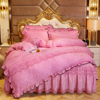 Bedding Set / four piece set / multi piece set Others Embroidered quilting Solid color high-density Chinese parasol Others 4 pieces other Royal Blue bean paste Beige light gray peacock green Golden Camel purple pink big red rose red Bed cover, bed skirt, bed cover Qualified products Gong Tingfeng