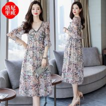 Dress Summer 2021 Pink pink apricot apricot M L XL XXL longuette singleton  Short sleeve commute V-neck High waist Decor Socket A-line skirt routine 25-29 years old Type A La'terraneo / talineo Korean version printing LAX1926 More than 95% Chiffon polyester fiber Polyester 100%
