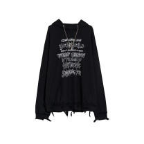 Sweater / sweater Spring 2021 black S,M,L,XL,2XL Long sleeves routine Socket singleton  routine Hood easy street routine letter 18-24 years old Holes, chains, prints cotton