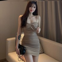 Dress Summer of 2019 Khaki skirt-f81, black skirt-d23, apricot (breast patch) - T40, color ro-t39 Average size Short skirt singleton  Sleeveless commute High waist Solid color zipper One pace skirt camisole 18-24 years old Type A Other / other Korean version Mesh, zipper J54635 polyester fiber