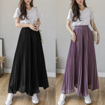 Casual pants Black, purple, blue, gray, lotus root powder S,M,L,XL Summer 2021 Ninth pants Wide leg pants Natural waist commute Thin money 25-29 years old 96% and above Korean version