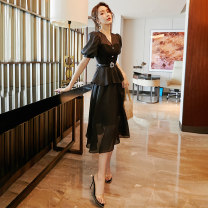 Dress Spring 2021 Black and white S M L XL Mid length dress Fake two pieces Short sleeve commute V-neck High waist Solid color A-line skirt routine 25-29 years old Type A Jieyang lady Ruffle zipper More than 95% other Other 100% Pure e-commerce (online only)