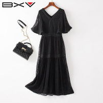 Dress Summer 2021 black S M L XL Mid length dress singleton  Short sleeve street V-neck Socket Lotus leaf sleeve 30-34 years old bxv 21BBAO2111P More than 95% silk Mulberry silk 100% Europe and America