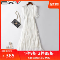 Dress Summer 2020 Black white red yellow pink S M L XL XXL Mid length dress Short sleeve street V-neck High waist Solid color other Others 25-29 years old bxv 20BBBE18003P More than 95% silk Mulberry silk 100% Europe and America