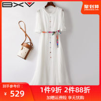 Dress Summer 2021 white S M L XL Mid length dress singleton  Short sleeve street Crew neck High waist Solid color Socket routine 30-34 years old bxv 21BLZ202022P More than 95% silk Mulberry silk 100% Europe and America