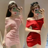 Dress Summer 2020 Black, pink, red Average size Miniskirt singleton  commute One word collar camisole 18-24 years old