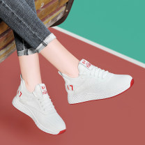 Low top shoes 35,36,40,38,37,39 Centenary / Centenary White, black Round head PVC chemical fiber Flat bottom Middle heel (3-5cm) Deep mouth cloth Spring of 2019 Frenulum leisure time Adhesive shoes Youth (18-40 years old) Color matching rubber Single shoes waterproof PU motion t1885