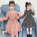 Dress Red and black female Jiali cat 110cm 120cm 130cm 140cm 150cm 160cm Cotton 100% spring and autumn Korean version Long sleeves Broken flowers cotton A-line skirt Yanghua skirt Class B Winter 2020