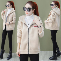 short coat Winter 2020 M,L,XL,2XL,3XL Long sleeves routine Plush singleton  easy commute routine Hood zipper letter Love and love 81% (inclusive) - 90% (inclusive)