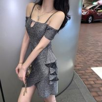 Dress Summer 2021 silvery S,M,L Short skirt singleton  Short sleeve street One word collar High waist Solid color Pencil skirt raglan sleeve camisole 18-24 years old Type X Other 30% and below brocade polyester fiber Europe and America