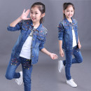 suit Balayan 110cm 120cm 130cm 140cm 150cm 160cm female spring and autumn leisure time Long sleeve + pants 2 pieces routine There are models in the real shooting Zipper shirt nothing Solid color Denim children Giving presents at school B1580 Class B Cotton 80% polyester 20% Chinese Mainland