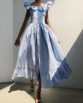 Dress Summer 2020 sky blue S,M,L,XL longuette singleton  Short sleeve street square neck High waist Big swing Flying sleeve 25-29 years old Type A 31% (inclusive) - 50% (inclusive) polyester fiber Europe and America