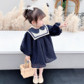 Dress navy blue female McDonnell 80cm 90cm 100cm 110cm 120cm 130cm Other 100% spring and autumn Korean version Long sleeves other other MDD-468753 Class A Spring 2021 12 months, 18 months, 2 years old, 3 years old, 4 years old, 5 years old, 6 years old and 7 years old Chinese Mainland Jiangmen City