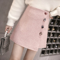 skirt Winter of 2019 S,M,L,XL,2XL Pink, black, blue Short skirt commute High waist A-line skirt Solid color Type A 25-29 years old WXQ901-1 31% (inclusive) - 50% (inclusive) Wool Other / other polyester fiber Button, thread decoration Korean version