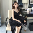 Dress Spring 2021 Black, apricot Average size longuette singleton  Sleeveless commute V-neck High waist Solid color A-line skirt camisole 25-29 years old Type A Korean version 71% (inclusive) - 80% (inclusive)