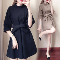 Dress Autumn of 2018 Black Caramel Khaki S M L XL Mid length dress singleton  three quarter sleeve commute Crew neck High waist Solid color Socket routine Others 18-24 years old Type A Yu Xiaoxin Korean version Bow tie tie YXX19277 More than 95% other Other 100% Pure e-commerce (online only)