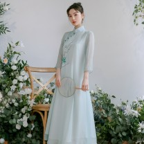 Dress Summer 2020 Light green, yellow S,M,L,XL,2XL Mid length dress singleton  three quarter sleeve commute stand collar Loose waist Hand painted Socket A-line skirt routine Type A Dream collection ethnic style 82Q1259PRO Chiffon