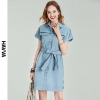 Dress Spring 2021 blue S M L XL Middle-skirt singleton  Short sleeve street Polo collar middle-waisted Solid color Single breasted other routine Others 30-34 years old HAVVA Q7286 More than 95% cotton Cotton 100% Same model in shopping mall (sold online and offline) Europe and America