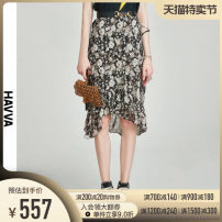 skirt Summer 2021 S M L XL Decor Middle-skirt street Natural waist Ruffle Skirt Decor 30-34 years old More than 95% HAVVA polyester fiber Ruffle print Polyester 100% Europe and America