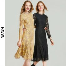 Dress Spring 2021 Yellow black S M L XL Mid length dress singleton  Nine point sleeve street Crew neck High waist Solid color other A-line skirt routine Others 30-34 years old Type A HAVVA Embroidered lace Q5685-434683 71% (inclusive) - 80% (inclusive) Lace nylon Europe and America