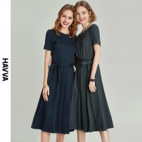Dress Spring 2021 Greyish green Navy XS S M L Mid length dress singleton  Short sleeve street Crew neck middle-waisted Solid color zipper Big swing routine Others 30-34 years old HAVVA Q7272 31% (inclusive) - 50% (inclusive) nylon Same model in shopping mall (sold online and offline)