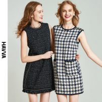 Dress Spring 2021 Check pattern XS S M L Middle-skirt Sleeveless street Crew neck 30-34 years old HAVVA 31% (inclusive) - 50% (inclusive) polyester fiber Same model in shopping mall (sold online and offline) Europe and America