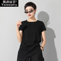 T-shirt black M L XL 2XL Summer of 2019 Short sleeve Crew neck Self cultivation Regular routine street other 96% and above 25-29 years old Other 100% Europe and America