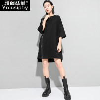 Dress Spring 2021 black Average size Middle-skirt singleton  elbow sleeve street Crew neck Loose waist Solid color Socket Irregular skirt routine 30-34 years old Type H Yalosiphy / yalosiphy Stitched asymmetric zipper YLSF-202101 More than 95% other Other 100% Europe and America