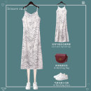 Dress Spring 2021 Nude apricot water ink drawstring Dress White Floral drawstring dress S M L XL 2XL 3XL 4XL Mid length dress singleton  Sleeveless commute V-neck High waist Abstract pattern other One pace skirt other Others 25-29 years old Type H Famous position Ol style MZ-0110-3 More than 95%