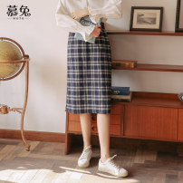 skirt Spring 2021 S M L Coffee Navy longuette commute High waist A-line skirt lattice Type A 18-24 years old MT0596 More than 95% Wool Moxa rabbit polyester fiber zipper Polyester 100%