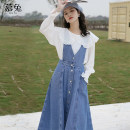 Dress Summer 2021 blue S M L XS Mid length dress singleton  Sleeveless commute V-neck High waist Solid color Socket A-line skirt straps 18-24 years old Type A Moxa rabbit Button MT0919 More than 95% Denim cotton Cotton 98% other 2% Pure e-commerce (online only)